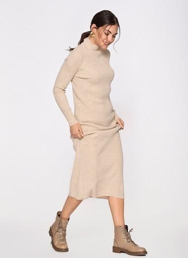 Loves You Yarım Balıkçı Triko Elbise Vizon